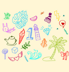 Hand-drawn colorful cute doodle set isolated on vector