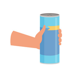 hand holding bottle with cleaning powde cleaning vector image