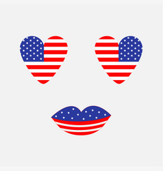 Heart shape american flag icon set face with eyes vector