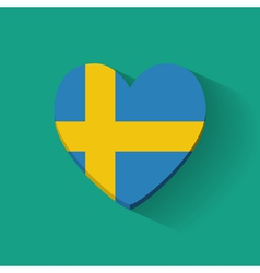 Heart-shaped icon with flag of Sweden vector image