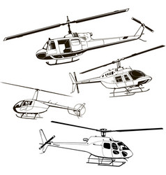 Helicopters set four models vector