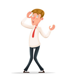 Helpless businessman scared shoked character vector
