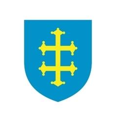 Heraldic cross france on a shield icon vector