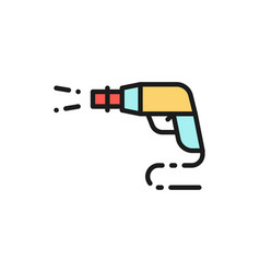High pressure car wash spray gun flat color line vector