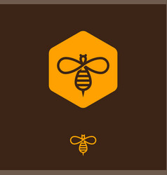 Honey logo bee icon hexagon infinity vector