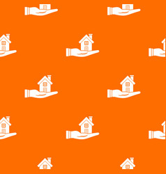 house in hand pattern seamless vector image