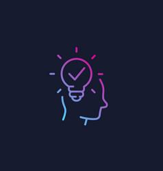 Idea insight creative thinking linear icon vector