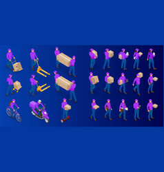 isometric big set of delivery man and woman in vector image