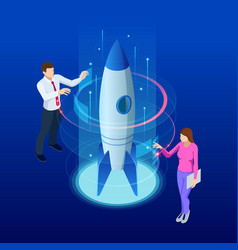isometric businnes start up concept income vector image
