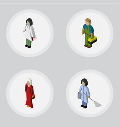 Isometric human set of housemaid doctor plumber vector