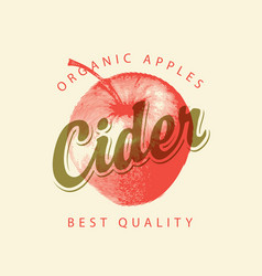 Label for cider with red apple and inscription vector