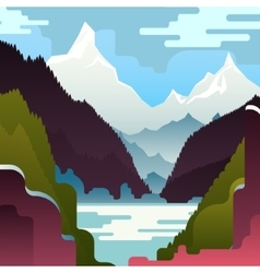 Landscape with huge white mountains vector