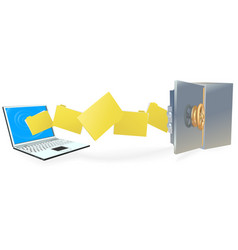 laptop computer transferring files securely vector image