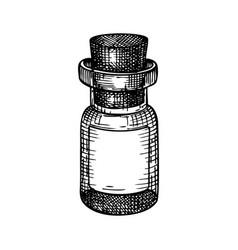 Little glass bottle hand-sketched glassware vector