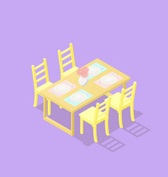 Low poly isometric dining table with chairs vector