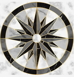 luxury marble and gold compass sign seamless vector image