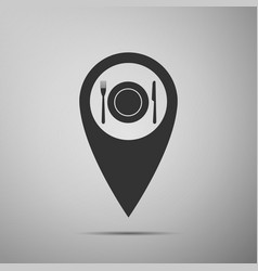 map pointer with restaurant icon icon isolated vector image