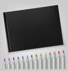 Markers with sketchbook template for your vector
