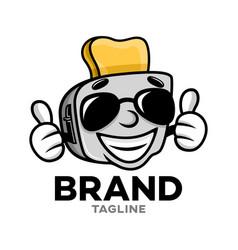 Modern cartoon character toaster logo vector