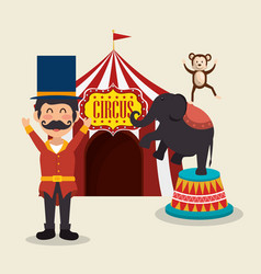 Monkeys and elephant circus show vector