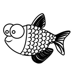 monochrome silhouette of fish with big eyes and vector image