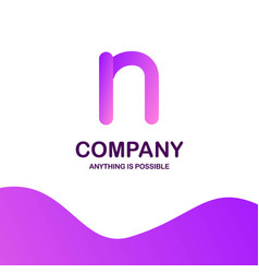 n company logo design with purple theme vector image