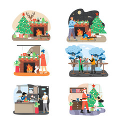 new year and christmas scene set flat vector image