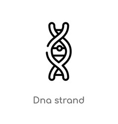 Outline dna strand icon isolated black simple vector
