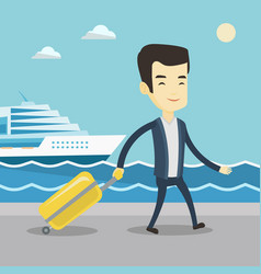 Passenger with suitcase going to shipboard vector