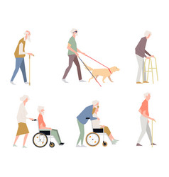 people are disabled on street pensioners on a vector image