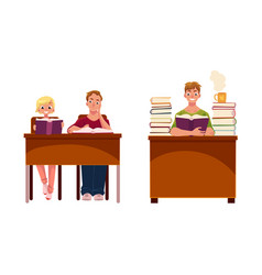 people couple and man reading books in library vector image