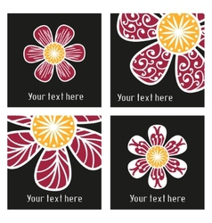 Posters with floral elements in tattoo style vector image