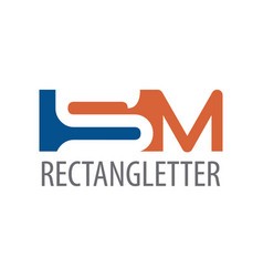 rectangle initial letter sm logo concept design vector image