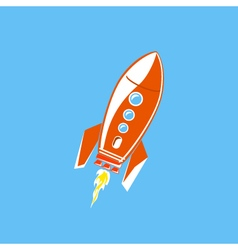 Red Rocket Isolated on Blue Background vector image