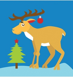 Reindeer and Christmas tree vector image