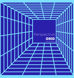 retro perspective grid background minimal design vector image