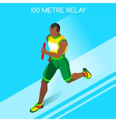Running Relay 2016 Summer Games 3D Isometric vector image