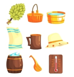 Russian Bathhouse Inventory Set vector