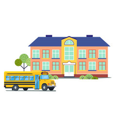 school building with yellow bus isolated vector image