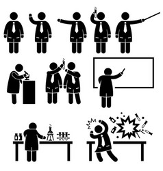 Scientist professor science lab pictograms a set vector