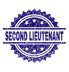 Scratched textured second lieutenant stamp seal vector