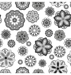 Seamless floral background Isolated black and vector