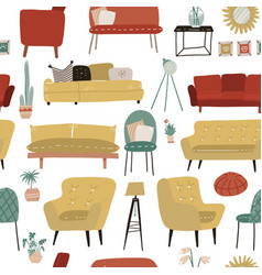seamless pattern with hand drawn colored furniture vector image
