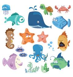 set cartoon fish collection funny bafish vector image