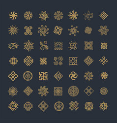 Set icons with slavic pagan symbols for your vector