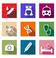 Set of flat healthcare and medical icons vector image