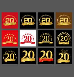 Set of number twenty year 20 year celebration vector