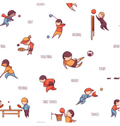 set of sportsmens seamless pattern vector image