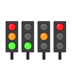 Set of traffic lights icon red green and orange vector