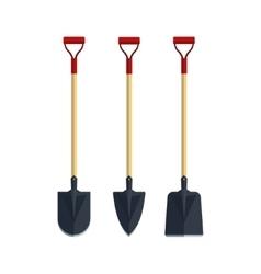 Set shovel spade flat tool icon logo vector